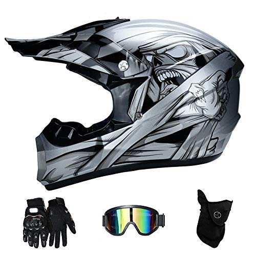 Profi-Motorcross-Helm-Set ATV Off Road Helm Unisex Adult Full Face Helmet with Goggles, Handschuhe, Maske, (S, M, L, XL),S(52~53cm)