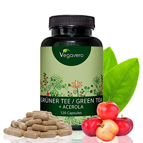 Grüner Tee Extrakt + natürliches Vitamin C aus Acerola Hochdosiert Vegavero | 120 Kapseln | 1300 mg Extrakt / 650 mg Polyphenole pro Tagesdosis | Vegan und OHNE Zusatzstoffe - Laborgeprüft