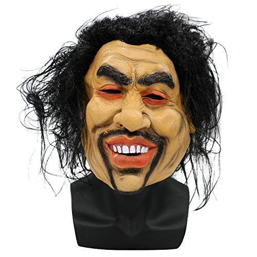Halloween Maske Erwachsene Menschliches Gesicht Maske Cos Verrückter Bettler Langes Haar Lächelndes Gesichtsmaske Horror Lustige Party Requisiten (Verrückte Clown Masken)