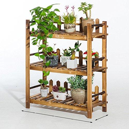 DSFGHE Support à Fleurs Echelle à Plantes en Bois Rack Jardin Terrasse Balcon étagère De Rangement 3 Couches,Small(70cm)