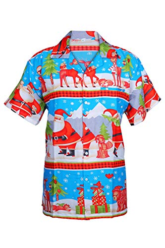 54197335c KIKLO Mens Christmas Santa Xmas Hawaiian Shirt Hawaii Gift HIM Party  Holiday S to XXL (