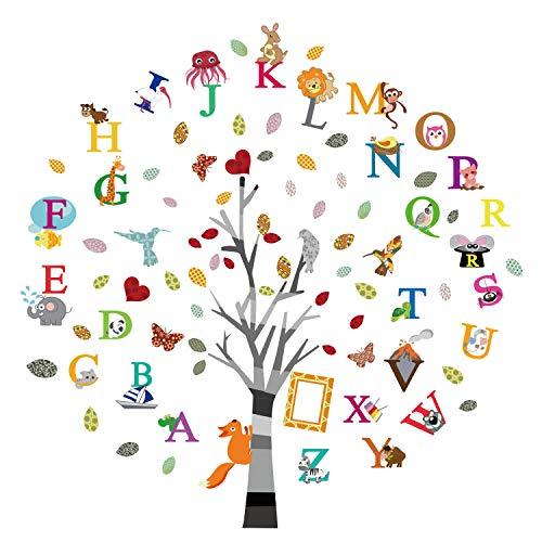 ufengke Wandtattoo Alphabet ABC Baum Wandsticker Wandaufkleber Tiere Buchstaben für Kinderzimmer Babyzimmer