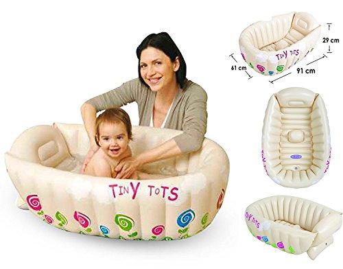 Tiny Tots -Baignoire gonflable pour bébé, portable, pratique pour les voyages, sans phtalate