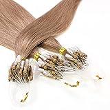 Hair2Heart 25 x 0.5g Microring Loop Extension Capelli Veri - 40cm - Liscio, Colore #10 biondo miele cenere