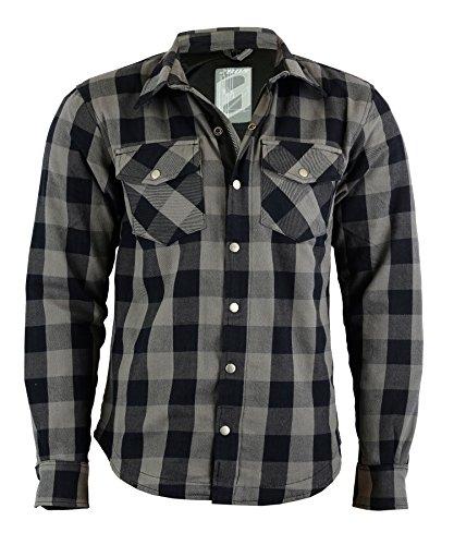 BOSMOTO Herren Lumberjacke Hemd Mit Protektoren (M, GRAU)