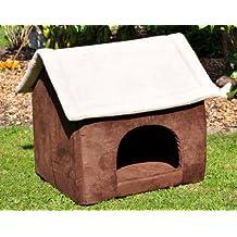 nanook Hunde-Höhle Hunde-Haus COSY für große Hunde XL und XXL, Wildleder-Optik, braun grau, Indoor