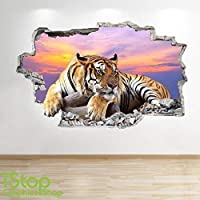 TIGER SUNSET WALL STICKER 3D LOOK - BEDROOM LOUNGE NATURE ANIMAL WALL DECAL Z14