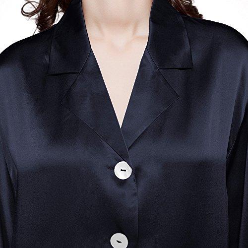 LILYSILK Set pigiama da Donna lunga di 22 momme Seta Blu marino