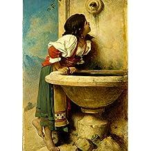 Grafika Puzzle 1000 pièces - Léon Bonnat : Fille Romaine à la Fontaine, 1875