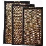 XX&GXM Holz Rattan Tabletts rechteckig aus Holz stricken Club Hotel Zimmer Teetassen und Süd-Ost-Asien, A, 3 Stück set