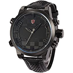 Shark Mens Fashion Digital Analog LED Date Day Alarm Black Leather Quartz Sport Watch SH206