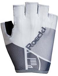 Roeckl Isola verano guantes de bicicleta dedos cortos blanco/ gris, Color:blanco;tamaño:10