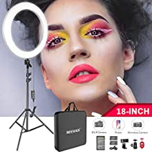 Neewer 18-inch LED Ring Light Kit for Makeup YouTube Video Salon - Adjustable Color Temperature, Battery/USB Charger/AC Adapter/Phone Clamp/Stand Included(White)