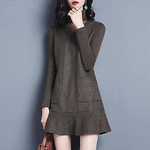 WZH Collar de mujer Bodycon pila con terciopelo falda Jersey lana vestido cola de pescado . picture color . xl