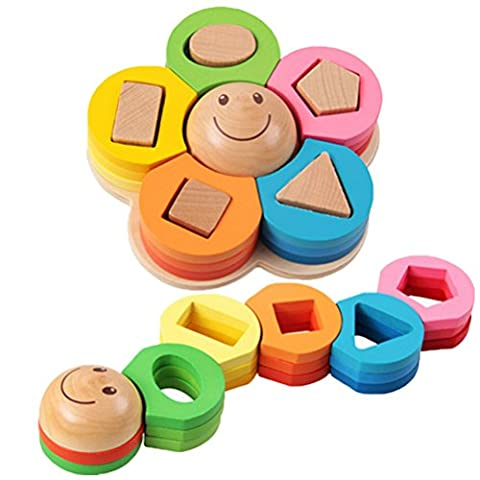CoscosX 1pc Baby Wooden Flowers Shape Geometric Shape Sorter Nesting Stacker Block Education puzzle Toy