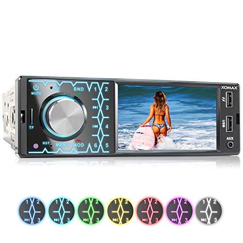 """XOMAX XM-V419 Autoradio mit 4.1\"""" / 10 cm Bildschirm I Bluetooth Freisprecheinrichtung I USB, SD, AUX I Anschlüsse für Rückfahrkamera und Lenkradfernbedienung I 7 Beleuchtungsfarben I 1 DIN"""