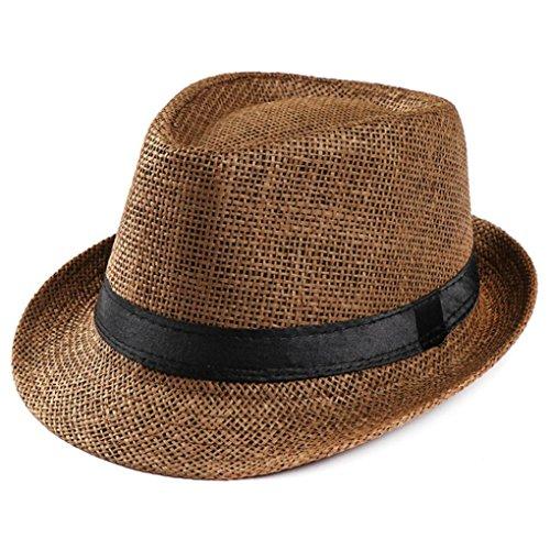Summer Hats-Unisex Men Women Packable Fedora Trilby Straw Sun Beach Hats Clearance