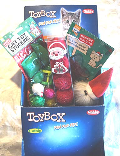 Paradise Pets CAT CHRISTMAS TOY BOX WITH CHRISTMAS CATNIP TOYS TOY STOCKING AND TREAT CARD
