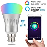 Smart Light Bulb,Works With Alexa,WiFi Light Bulbs,Multicolored LED Bulbs,LED Light Bulbs Dimmable,Smartphone Controlled Daylight & Night Light,Home Lighting (B22 Base, White)