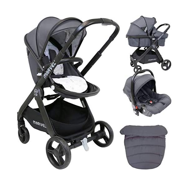 iSafe Marvel 2in1 Complete Pram System Pushchair and Carseat - Charcoal Black iSafe  1