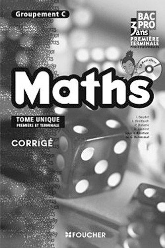 Mathématiques Groupement C 1re Tle Bac Pro Corrigé
