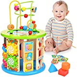 WLOVETRAVEL 10 in 1 Wooden Activity Cube Bead Maze Multi-purpose Educational Toys for Kids Baby Toddler Age 3 4 5 6 7 8 + Year Old Girls Boys (10 in 1)