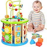 WloveTravel 10 in 1 Wooden Activity Cube Bead Maze Multi-purpose Educational Toys