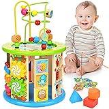 WloveTravel Jouets en Bois, Cube d'activité en Bois 10 en 1 Activité Cube Labyrinthe en Bois Jouet Éducatif à usages Multiples pour Enfants Tout-Petits Bébé, Idéal pour Âge 3 4 5 6 7+