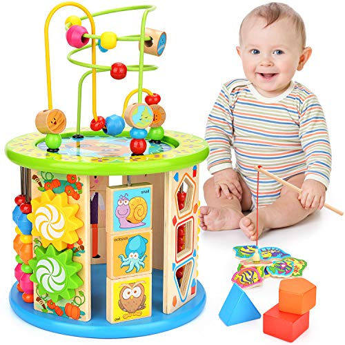 WLOVETRAVEL 10 in 1 Wooden Activ...