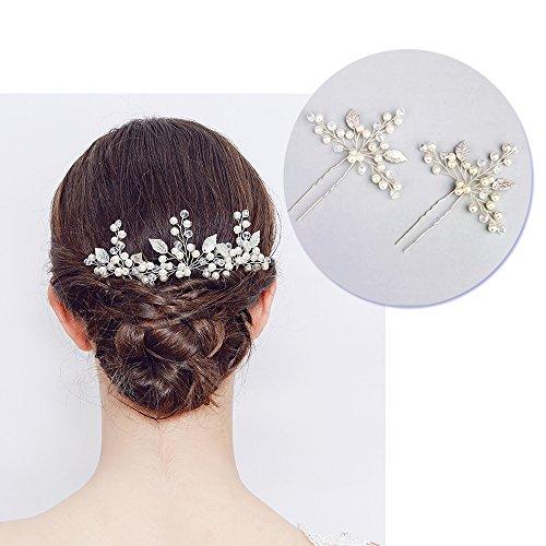 Haarschmuck hochzeit, Elegante Damen Haarclip mit Perle und Kristall Strass, Braut Haarschmuck HaarnadelnHochzeit kopfschmuck für Frauen und Mädchen (2 Stück)