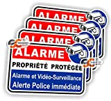 Sticker Alarme Vidéo-Surveillance Autocollant (Lot de 4 Stickers) Protection Laptop Macbook iphone Samsung Sony...
