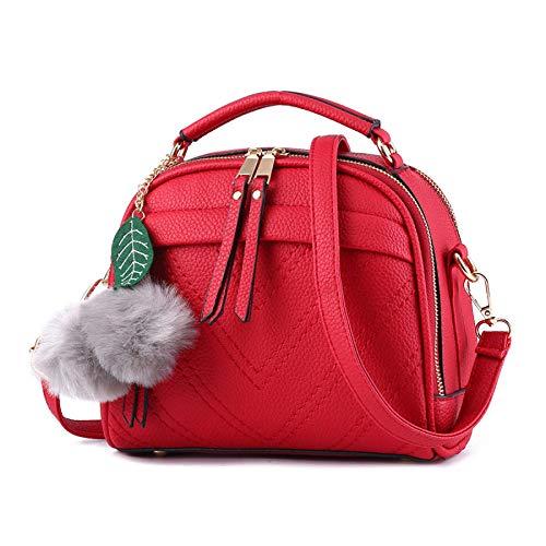 Damen Neue Einfarbige Farbe Handtasche Messenger Bag Mehrzweck- Dual-Use-Paket Doppel-Reißverschluss Große Kapazität Pu Tragen Wasserdicht Schultertasche,Winered-22 * 12 * 18cm (Tote-doppel-griff Leder)