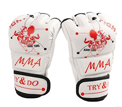 Boxen - Kickboxhandschuh halbe Finger-Handschuhe -MMA ---- Weiß