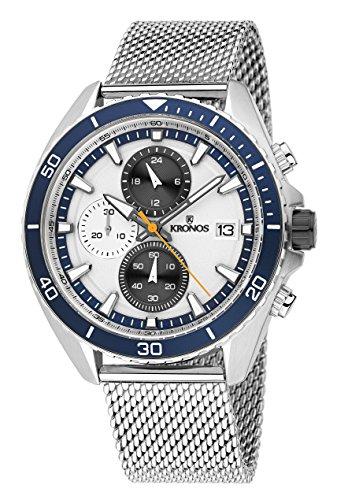KRONOS - Sport Q Racing Chrono Silver K005.8.105 - Reloj de Caballero de Cuarzo, Brazalete de Acero...