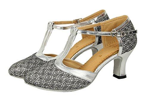 Honeystore Femme Chaussures de Danse Bout Ferm¨¦ Lani¨¨re en T Scintillant Gris