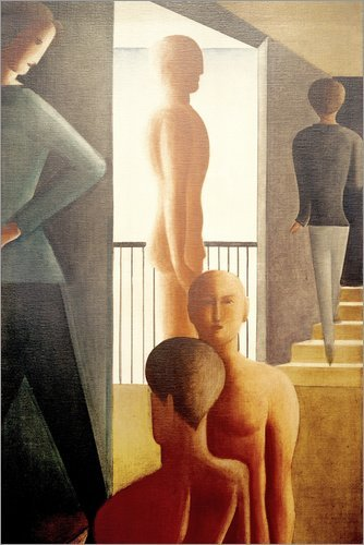 Posterlounge Holzbild 120 x 180 cm: Fünf Männer im Raum von Oskar Schlemmer/akg-Images