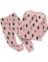 LENGIMA Conjunto de Traje de Pijama para niños, niñas y niños, 2 Piezas, Camiseta de algodón Estampada +…