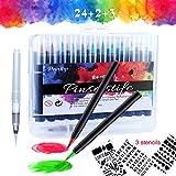 Brush Pen Set Pinselstifte, 24 Farben Aquarellstifte WaterColor Echter Kinder Zeichnen, Malen, Kalligraphie