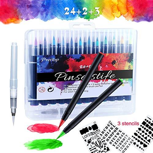 Brush Pen Set Pinselstifte, 24 Farben Aquarellstifte WaterColor Echter Kinder Zeichnen, Malen, Kalligraphie Beschriftung Stift Mit Wassertankbürste for Anfänger Erwachsene Linker Hander Bullet Journal
