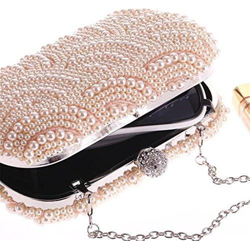 ERGEOB Damen handgemacht Perle Abendtasche aprikose 02 asprikose
