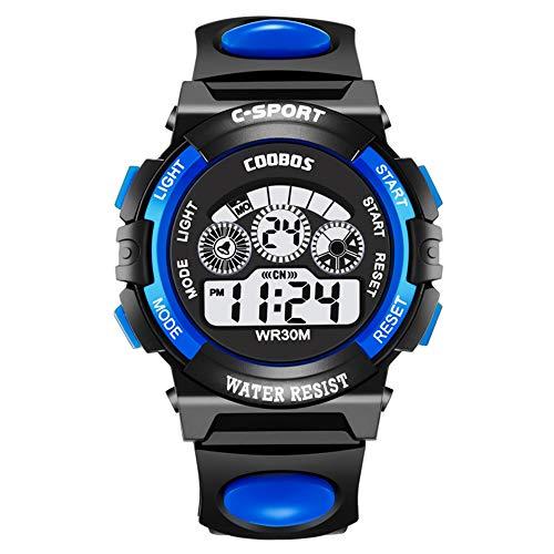 Souarts Kinder Armbanduhr Jungen Männer Wasserdicht Digital Uhr Outdoor Sport Kinderuhren mit Wecker Timer LED-Licht Batterie Silikon Armband (Blau) (Uhr Kind Digitale)