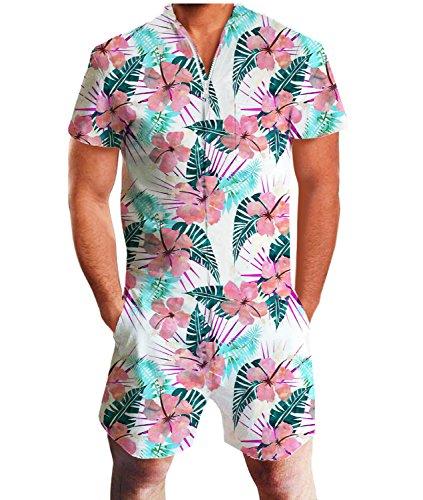 Idgreatim Herren Jumpsuit Männer Stil 3D Grafik Reißverschluss Neck Shorts Einteiler Spielanzug Jumpsuit L - Graphic T-shirt Short