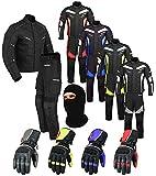 PROFIRST Wasserdichtes Motorrad Klage Gewebe (Jacke + Hose + Handschuhe + Balaclava) Motorradbekleidung für alle Wetter - Cordura Fabric - CE Armour - 6 Packs Entwurf - Grau/Grey - 4X-Large