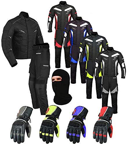PROFIRST Wasserdichtes Motorrad Klage Gewebe (Jacke + Hose + Handschuhe + Balaclava) Motorradbekleidung für alle Wetter - Cordura Fabric - CE Armour - 6 Packs Entwurf - Grün/Green - X-Large