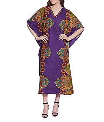 Freie Größe Gedruckt Tunika Lässig Kaftan Damen Lang Baumwolle Komfortable Luftig Verschleiß Festkleid Für Frauen Indian