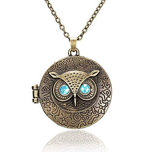 Eqerlian Halskette Vintage Ausschnitt Owl Anhänger Pullover Kette Lupe Halskette