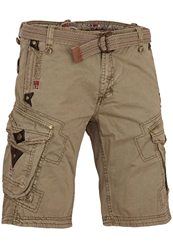 5D2 Geographical Norway Perle Herren Cargo Shorts Kurze Sommer Hose Mastic 3XL