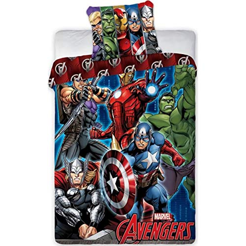 AYMAX S.P.R.L Avengers - Juego de Cama (Funda nórdica de algodón)