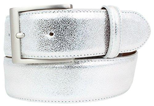 Hochwertiger Gürtel Metall-Optik Echt Leder 4,0 cm | Leder-Gürtel Metallic-Look 40mm | Metall-Ledergürtel in Silber Gold Rosegold 4cm
