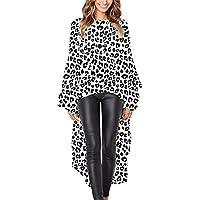 SUCES Damen Mode Lange Bluse Frauen Unregelmäßige Rüschen Hem Shirt Langarm Abendmode Tops Party Elegant Hemd Täglichen Leopard Gedruckt Oberteile Herbst Lose Tees